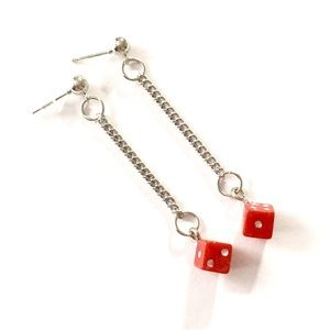 Red dice dangle earrings